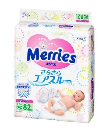 花王妙而舒 Kao Merries 瞬吸透气 腰贴式宝宝(尿不湿)纸尿裤S码82枚