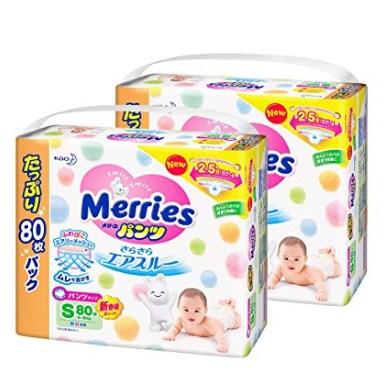 新款花王Merries拉拉裤S80X2包 页面有379日元优惠券折后价3762日元还可叠加定期便